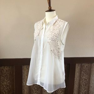 Philosophy Semi-Sheer Lace Embellished Top